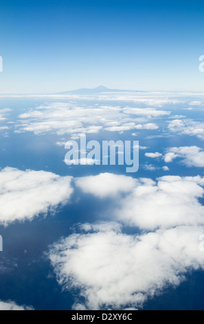 View of Tenerife island with Teide volcano in centre from aircraft. Canary Islands, Spain - Stock Photo