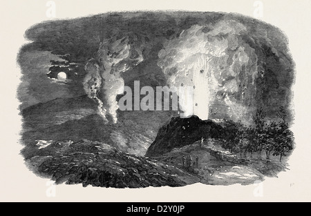 ETNA IN ERUPTION, THE NEW CRATER, 1852 - Stock Photo