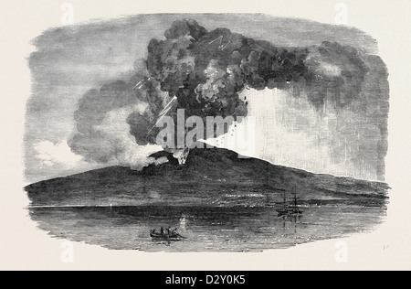 ETNA IN ERUPTION, SEEN FROM THE SEA - Stock Photo