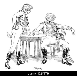 Illustration from the J. M. Barrie play Quality Street, a comedy about two sisters who start a school 'for genteel - Stock Photo