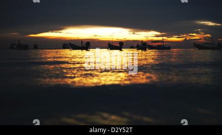 After Sunset at Hat Sai ree, Sairee Beach, Koh Tao, Suratthani, Thailand. - Stock Photo