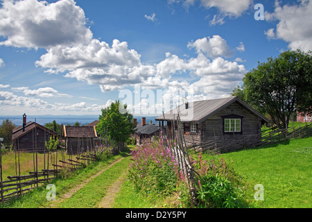 Traditional old wooden cottages / log cabins at the village Fryksås, Dalarna, Sweden, Scandinavia - Stock Photo
