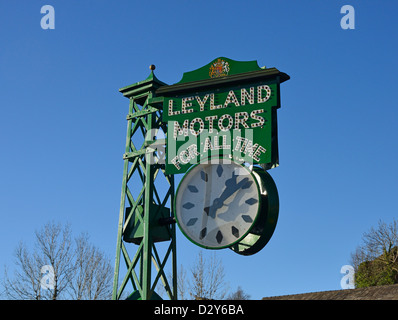 'LEYLAND MOTORS FOR ALL TIME'. The Leyland Clock. Brewery Arts Centre, Highgate, Kendal, Cumbria, England, United - Stock Photo