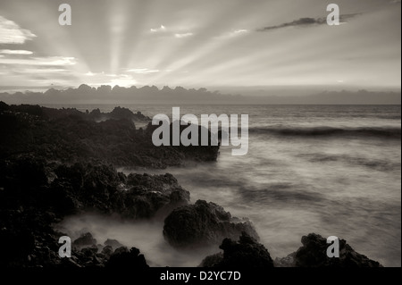 Sunset with God's rays. The Kohala Coast. The Big Island, Hawaii. - Stock Photo