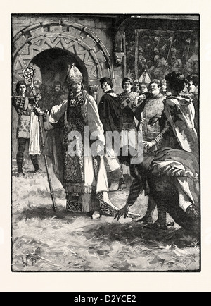 BECKET BEFORE HIS ENEMIES IN THE COUNCIL HALL AT NORTHAMPTON - Stock Photo