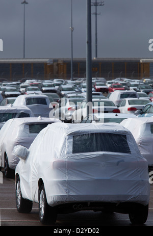 National City, California - Imported cars on the dock at the Port of San Diego. - Stock Photo