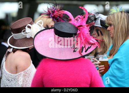 Liverpool, United Kingdom, Elegantly dressed women at the races - Stock Photo