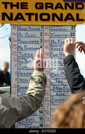 Liverpool, United Kingdom, odds board a bookmaker - Stock Photo