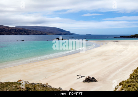 Stunning sandy beach and bay of Balnakeil Bay, Durness, Sutherland in Scotland looking out towards Cape Wrath - Stock Photo