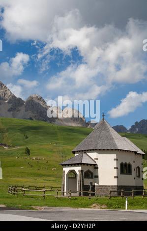 Mountain pass Passo San Pallegrino, Moena, Dolomiti, Trentino Alto Adige, Italy - Stock Photo
