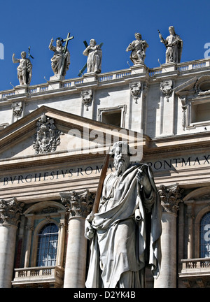 St. Paul`s statue on the St. Peter`s Square in the Vatican, Rome - Stock Photo