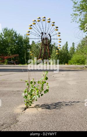 The unopened amusementpark in Pripyat Chernobyl in Ukraine - Stock Photo