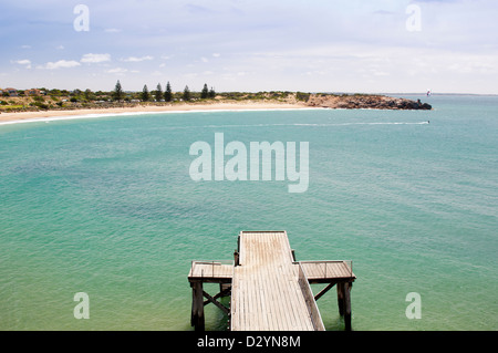 Beautiful Horseshoe Bay, tourist attraction near Victor Harbour in South Australia - Stock Photo