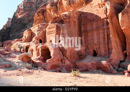 tombs in the lost city of petra - Stock Photo