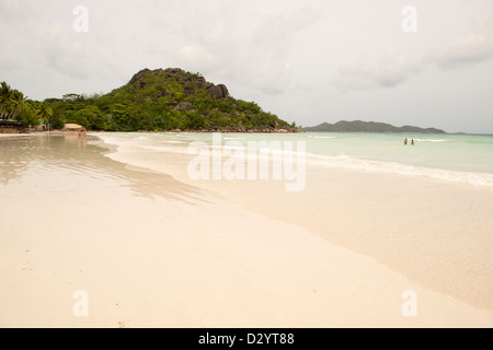 Beach setting on the beach in Seychelles, Denis private island, Indian Ocean - Stock Photo