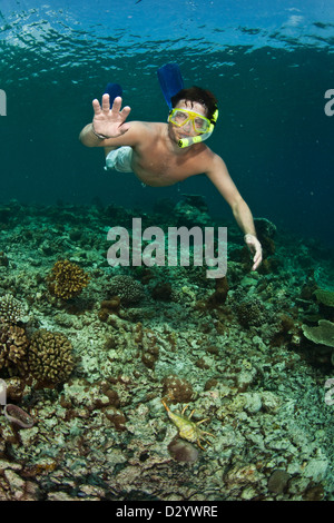 Man underwater in snorkel mask, Caribbean sea, Maldives - Stock Photo