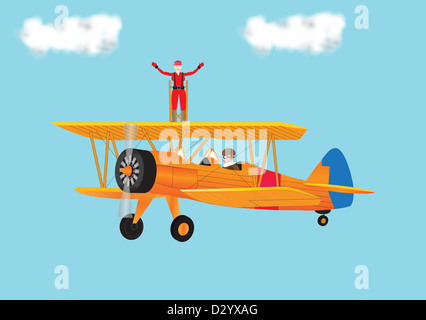A vector illustration of a pretty Woman in a Red Jumpsuit bravely Wing Walking on an orange coloured vintage Biplane - Stock Photo