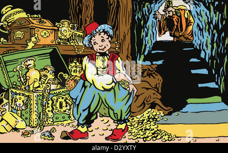 A fragment of a vintage postcard, shows an illustration of a fairy tale Aladdin and His Wonderful Lamp - Stock Photo
