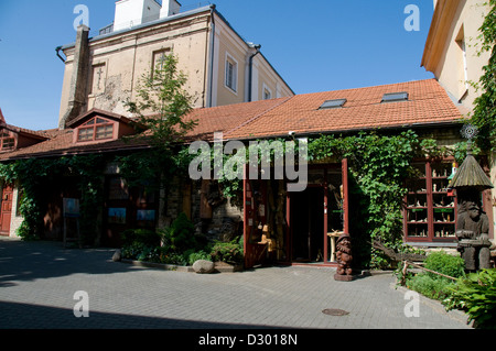 A courtyard of small shops in the old town of Vilnius,Lithuania - Stock Photo
