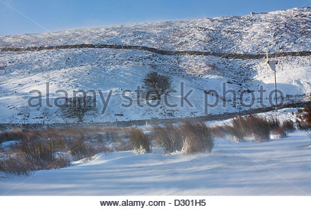 Co Durham, Holwick, Middleton-in-Teesdale, England, UK. 5th February 2013. Strong winds and snow have been falling - Stock Photo