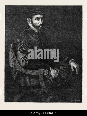 SIR THOMAS GRESHAM BY SIR ANTONIO MORE IN THE NATIONAL PORTRAIT EXHIBITION SOUTH KENSINGTON LONDON UK - Stock Photo