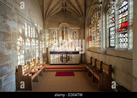 memorial chapel Kings College Chapel, Cambridge University, Light flooding in through the stained glass windows. - Stock Photo