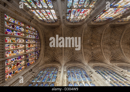 Kings College Chapel glass windows and ornate ceiling - Stock Photo