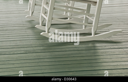 Rocking chairs on house porch in North Carolina, USA - Stock Photo