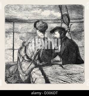 ON THE ATLANTIC STEAMER: MOONSHINE, 1870 - Stock Photo