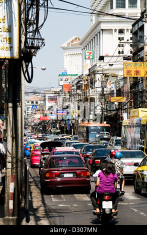 Bangkok street, Thailand - traffic in the heat of the day - Stock Photo