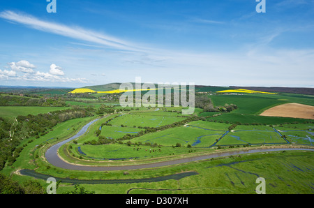 River Cuckmere running through the Cuckmere Valley in the South Downs, East Sussex, England, UK - Stock Photo