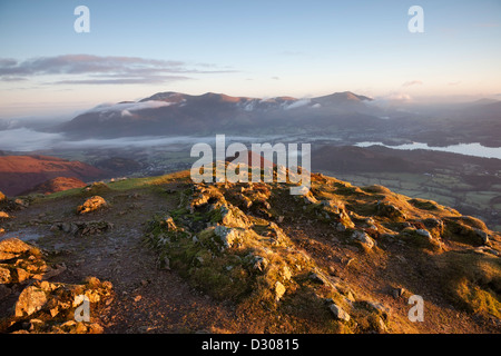 Skiddaw and Derwent Water From the Summit of Causey Pike in Early Morning Light Lake District Cumbria UK - Stock Photo