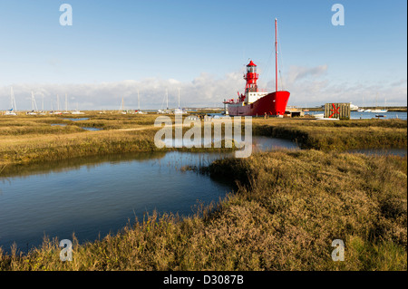 A retired Lightship moored on the saltmarshes at Tollesbury Saltings, Essex, UK - Stock Photo