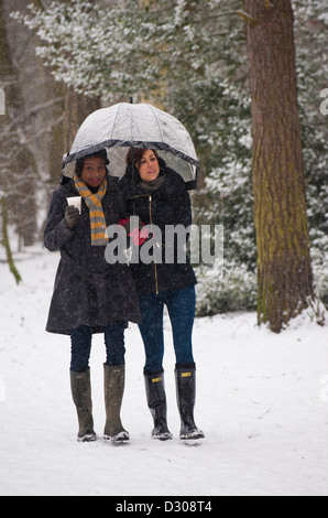 Winter walk - Two young women friends walking through a heavy snowfall in a park in winter, England, UK - Stock Photo