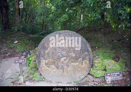 Altar, Tikal Maya ruins, Unesco World Heritage site, Guatemala, Central America - Stock Photo