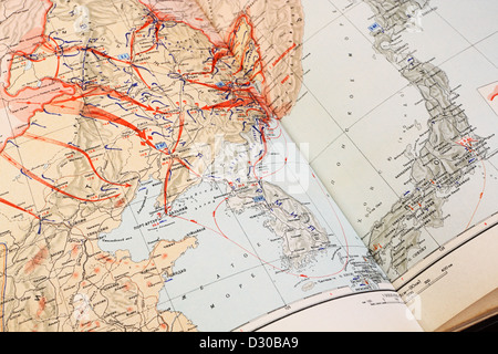 Military map of World War II on the Far East, 9 August - 2 September 1945 - Stock Photo
