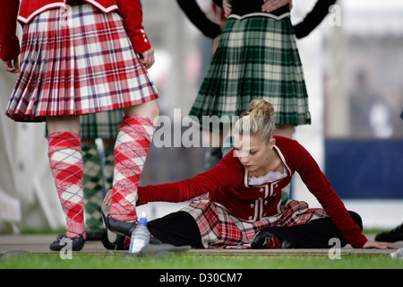 Dancers preparing for the World Highland Dancing Championship Finals at the Cowal Highland Gathering in Dunoon, - Stock Photo