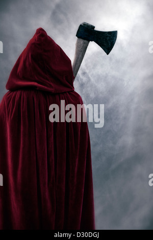 a guise in a red cloak with an axe