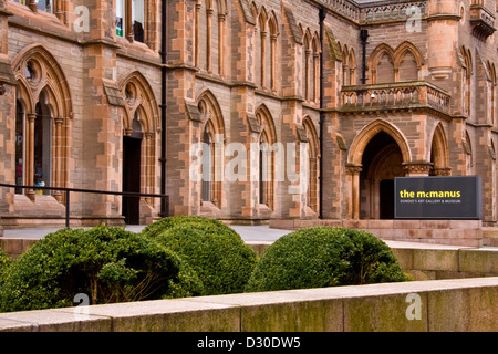 Main entrance to the Gothic Style McManus art Gallery and Museum in central Dundee,UK - Stock Photo