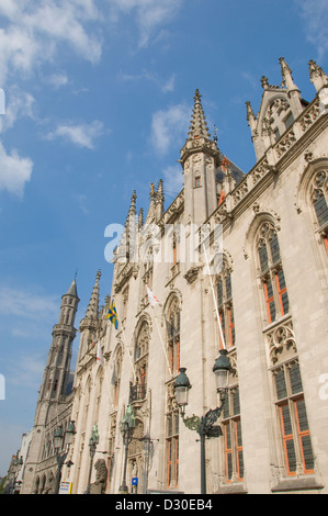 Architectural detail of the Provinciaal Hof in Grote Markt, Bruges Begium - Stock Photo