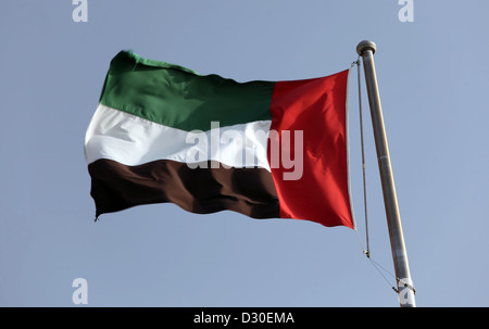 Dubai, United Arab Emirates, national flag waving in the wind - Stock Photo
