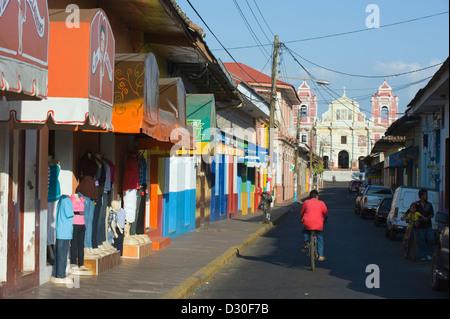 street leading to Igelsia el Calvario, Leon, Nicaragua, Central America - Stock Photo