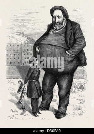 THE NEW YORK TAMMANY FRAUDS: CAN THE LAW REACH HIM? THE DWARF AND THE GIANT THIEF - Stock Photo