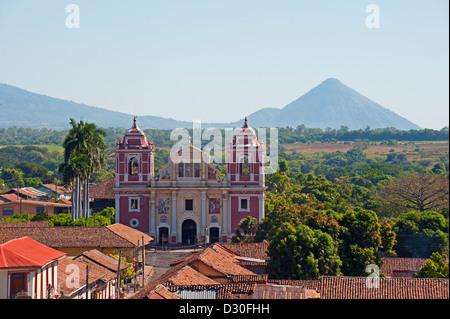 view of Igelsia el Calvario and volcanoes, Leon, Nicaragua, Central America - Stock Photo