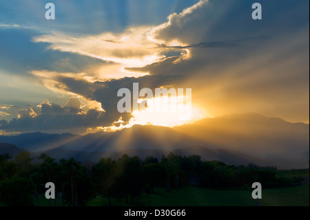 Clouds over Palm Desert, CA - Stock Photo