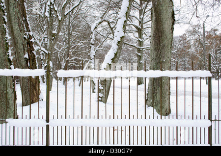 retro rusty metal fence covered with snow in park and old tree trunks in winter. - Stock Photo