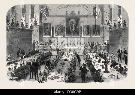 DINNER GIVEN BY THE INNS OF COURT VOLUNTEERS TO THE UNIVERSITIES CORPS 1868 - Stock Photo