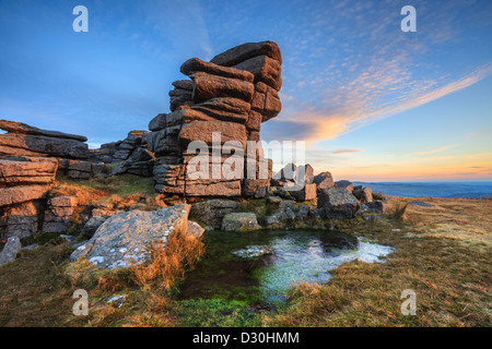 Great Staple Tor in the Dartmoor National Park, captured shortly before sunset on a winters afternoon. - Stock Photo