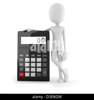 3d man business man standing near a big calculator over white background - Stock Photo