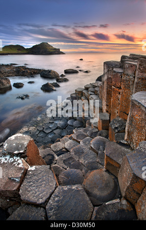 Giants Causeway at dusk, Northern Ireland. - Stock Photo